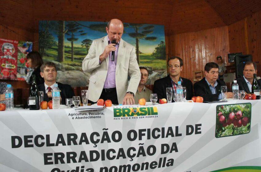 MINISTRO DA AGRICULTURA DECRETA OFICIALMENTE ERRADICAÇÃO DA CYDIA POMONELLA NO BRASIL