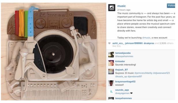 Instagram lança perfil dedicado à música