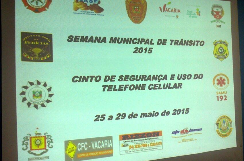 Definida a programação da Semana Municipal do Trânsito 2015