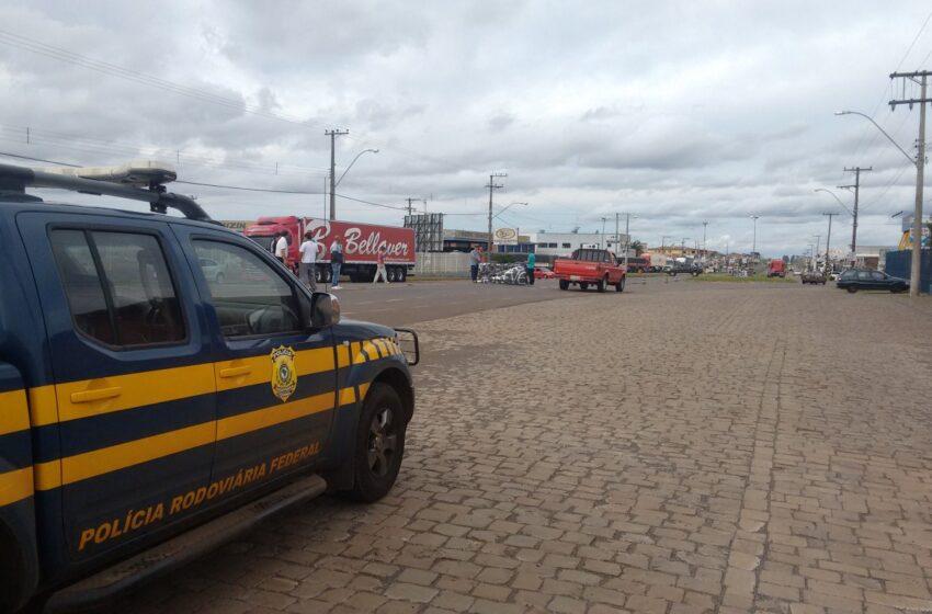 Tarde deste domingo teve manifestação de caminhoneiros  em Vacaria