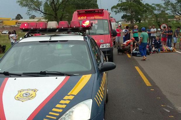 Acidente com moto deixa dois feridos na BR – 116