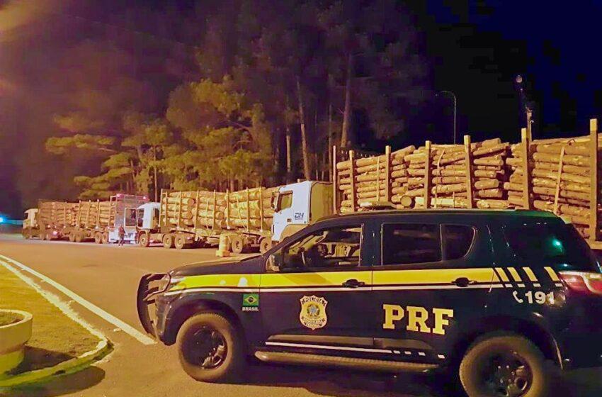 PRF autua caminhões com excesso de peso em Vacaria