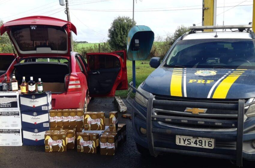 PRF apreende carregamento ilegal de bebidas em Vacaria